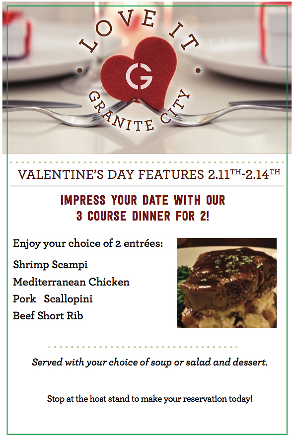 Valentine S Day Dinner For Two Granite City Food Amp Brewery