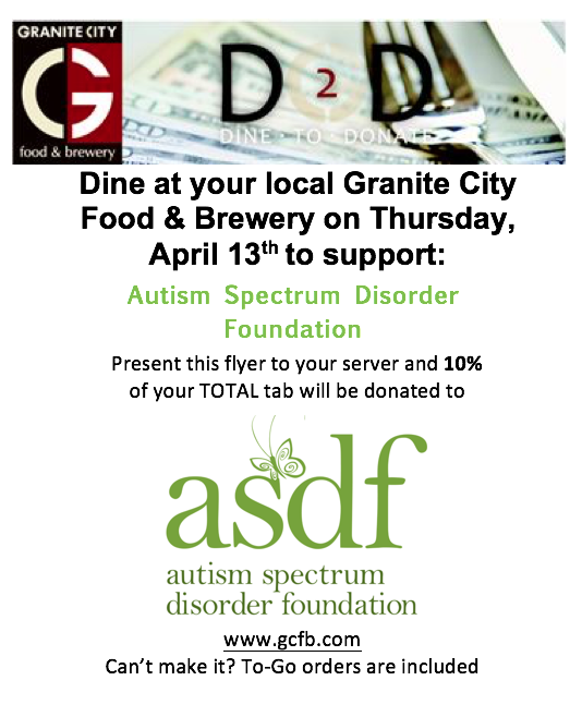 Autism Spectrum Disorder Foundation Dine 2 Donate April, 13 2017
